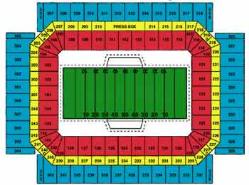 Seating map of the Alamodome in San Antonio, Texas